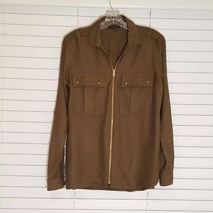 River Island Olive Green Front Gold Zip Blouse 6
